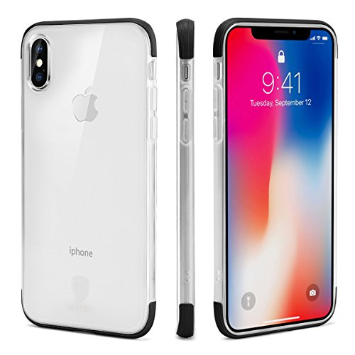 iPhone X Case, Baseus Ultra Slim Crystal Clear Case with Air Cushion and Double Soft TPU Bumper - Shockproof and Anti-Scratch Cover for Apple iPhone X / 10 - Black