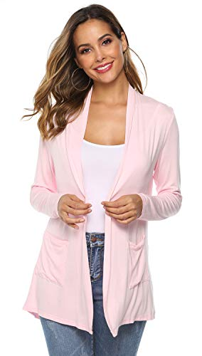 POGTMM Women's Casual Lightweight Summer Open Front Long Sleeve Cardigan with Pockets (05Light Pink, M(8-10))