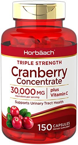 Triple Strength Natural Cranberry - Horbaach Cranberry (30,000 mg) + Vitamin C 150 Capsules | Triple Strength Ultimate Potency | Non-GMO, Gluten Free Cranberry Pills Supplement from Concentrate Extract