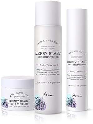 Ariul Berry Blast Boosting Toner, Brightening Serum, Keep 20 Cream Bundle - Daily Skincare Brightening & Regeneration Treatment with Panthenol, Collagen, Anthocyanin, Vitamin C, and Giga-white Complex