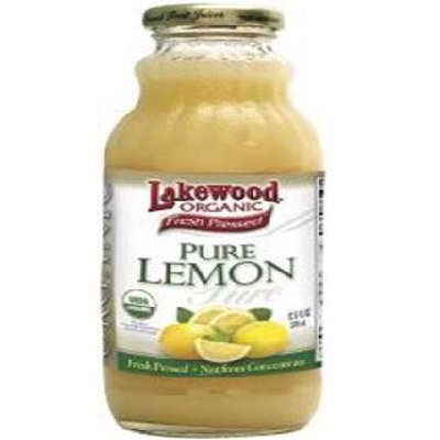 Lakewood PURE Organic Lemon Juice, (NOT from Concentrate), Buy TWELVE Bottles and SAVE More, Each Glass Bottle is 32 Ounces (Pack of 12) by Lakewood