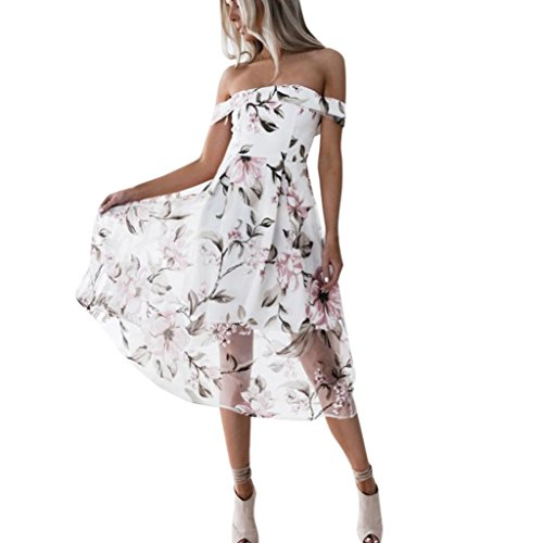 Country Style Dress (ZLOSKW Women's Fashion Dress, Summer Country Style Off Shoulder Floral Printed Long Maxi Dress (Small, Pink))