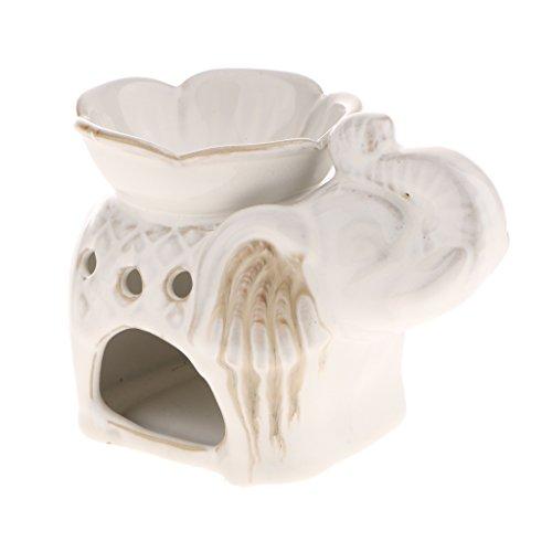 Blesiya Ceramic Elephant Fragrance Oil Burner Tealight Holder Candle Pillar Wax Tray Fengshui Decor - White