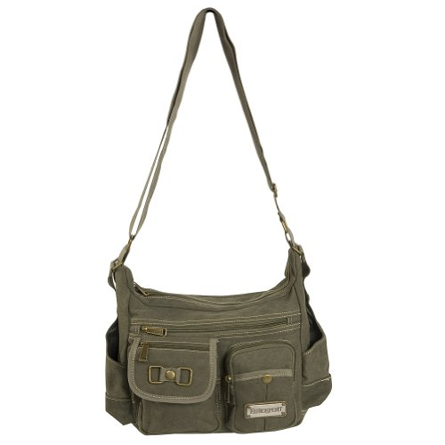 4in 1 Cargo - EUROSPORT WASHED CANVAS CARGO BAG B420, OLIVE. ONE SIZE.