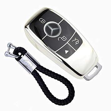 Funda de Silicona para Llave Mercedes – Cover Carcasa de TPU Cromo Suave para Keyless Mercedes Classe E CLA CLK GLA GLC Protección Llaveros Mando a ...