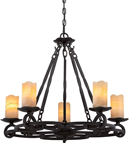 Quoizel AME5005IB Armelle Rustic Lodge Faux Alabaster Candle Chandelier, 5-Light, 300 Watts, Imperial Bronze (23
