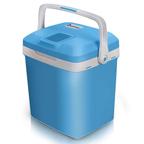 Camping Fridge 26.4 Quart/27L,Mini Refrigerator Electric Cooler and Warmer for Car and house with Dual 12V DC & 110V AC Thermoelectric System Portable Fridge for Travel, Camping and Picnic (27L-Blue)