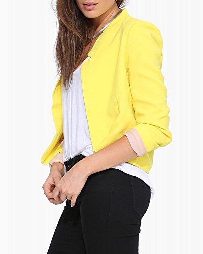 Jacket Femme Jaune Blouson Veste Classique Mode Manteaux Coat xRZHzqT