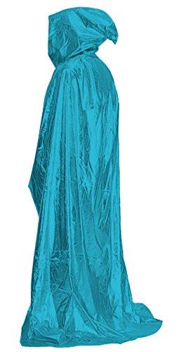Marvoll Shiny Metallic Deluxe Cloak Halloween Props Cape Costume (150cm, Sky Blue) (Plus Size Female Superhero Costumes)
