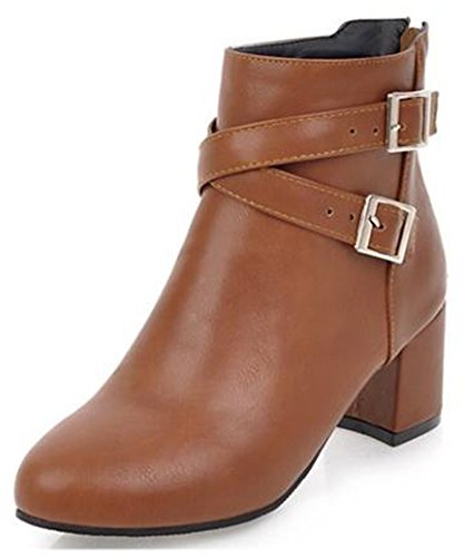 Side Aisun Ankle Brown Block Medium Strap Women's Heel Round Zipper Stylish Boots Toe Buckled Cross xBvx67