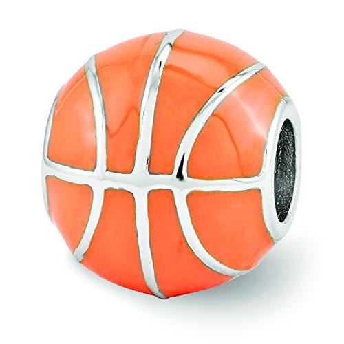 Reflections Sterling Silver Orange Enameled Basketball Bead