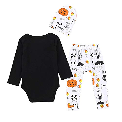 XUANOU Baby Long Sleeve Mommys Little Letter Soul Pumpkin Hat Halloween 3PC Set Newborn Romper Tops Print Pants Cap Sets