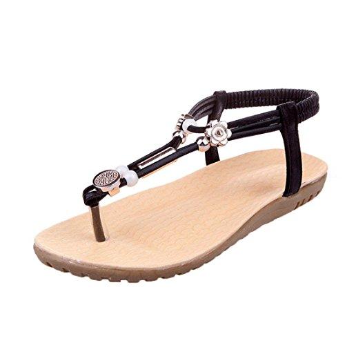Ouneed® Damen Sandalen ,Frauen Sommer Sandalen Böhmen Ankle-Strap Flops Sommer Flache Schuhe Damen Indoor and Outdoor Schuhe Schwarz