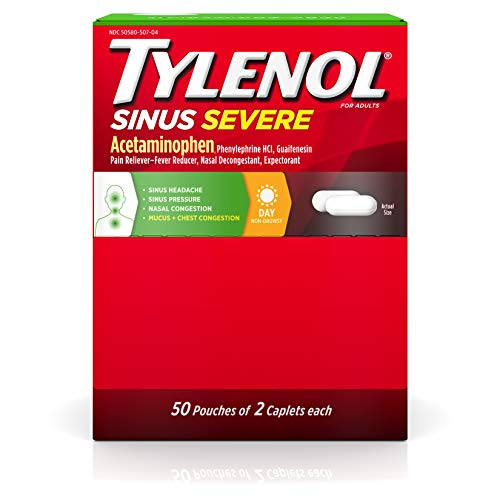 Tylenol Sinus Severe Daytime Caplets for Pain & Congestion Relief, 50 Travel Packs of 2 ct