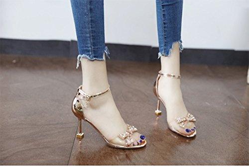 GaoXiao diamond, papillon, crystal de chaussures à talons hauts, cuir, pendentif, et le pied des sandales,couleur champagne,