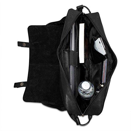 STILORD borsa in pelle borsa borsetta uomo donna unisex cuio nero