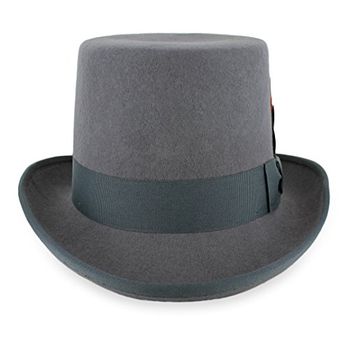 Belfry Topper 100% Wool Satin Lined Men's Top Hat in Black Available in 4 Sizes (Large, Grey)