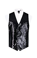 Men's Regular Fit Black Sequin Vest