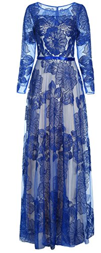 Meier Women's Long Sleeve Illusion Back Embroidery Lace Evening Dress Royal Size 14