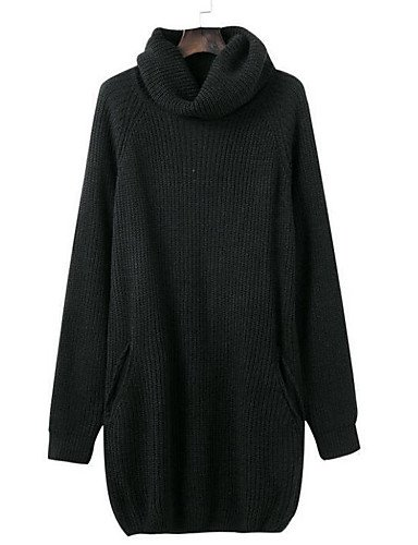 Diario Alto Algodón Mujer de Licra BaiChunYunYi Noche Cuello Larga size Otoño Manga Black Microelástico Casual Color Chic black one Pullover Un Largo Medio Calle qX0dwdaZ7x