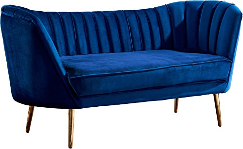 Metal Modern Loveseat - Meridian Furniture 622Navy-L Margo Collection Modern | Contemporary Navy Velvet Upholstered Loveseat with Rich Gold Stainless Steel Base, 65
