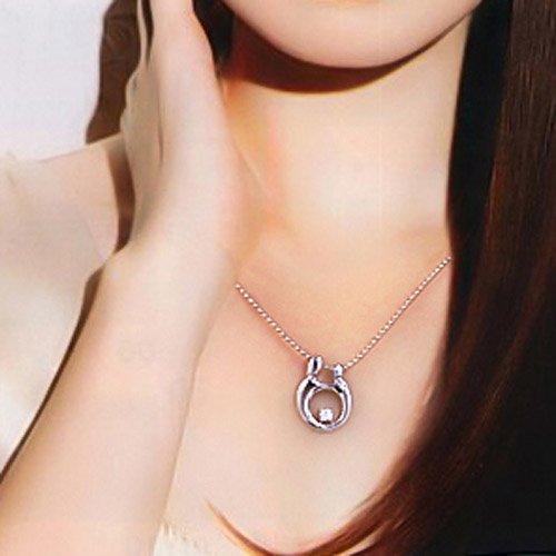 Sterling Silver Beste tochter der welt Mother Child Necklace Cubic Zirconia German Engraved Pendant 18