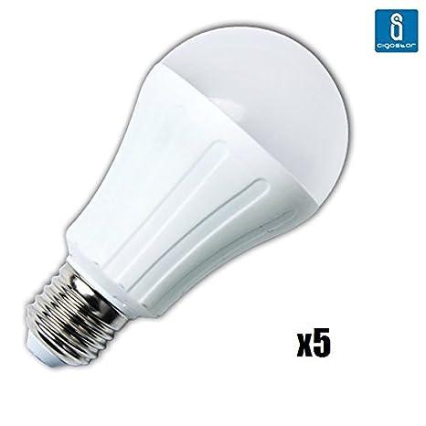 Pack de 5 Bombillas LED A65, 15W, casquillo gordo E27, 1200 Lumen, luz blanca 6400K: Amazon.es: Iluminación