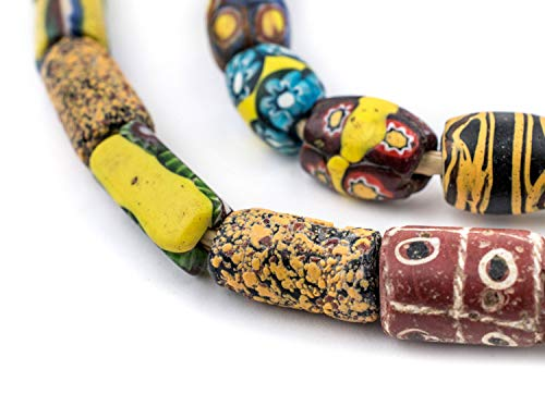 (TheBeadChest Antique Venetian Millefiori Beads: Genuine African Trade Beads, Imported from West Africa, Full Strand)
