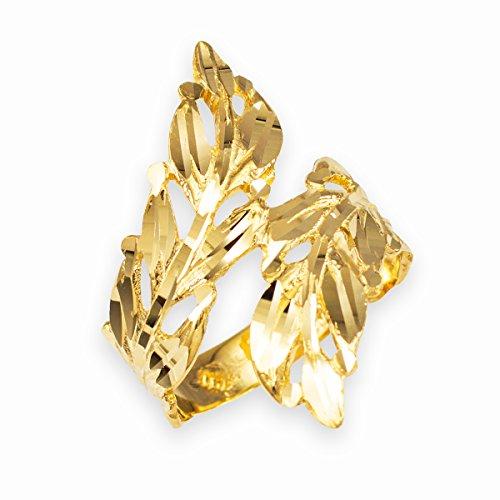Gold Laurel Leaf Wreath - High Polish 14k Yellow Gold Double Laurel Wreath Leaf Ring (Size 5.5)
