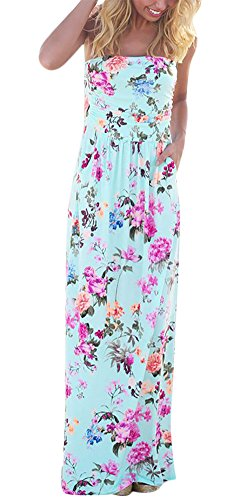Wancy Women's Strapless Vintage Floral Print Party Long Casual Maxi Dress with Pocket Blue Medium - Boho Long Maxi Dress