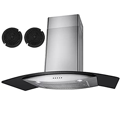 "Golden Vantage ® 36"" Stainless Steel Wall Mount Range Hood Black Tempered Glass Kitchen Vents"