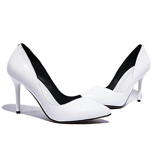 Amoonyfashion Mujeres Soft Material Señaló Punta Cerrada Puntas Stilettos Tire En Bombas Sólidas Zapatos Blanco