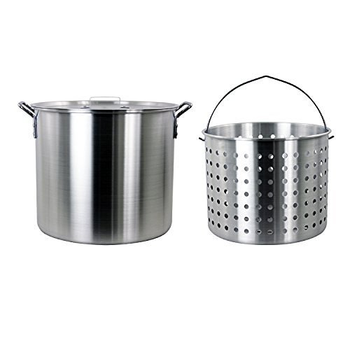 CHARD ASP42 Aluminum Stock Pot and Perforated Strainer Basket Set, 42 Quart ()