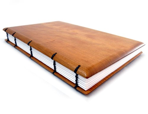 """American Made Hardwood Keepsake Journal, Visitor Register, or Guestbook with Coptic Binding, 6""""x 9"""", Lined Pages, Cherry Wood Version"""