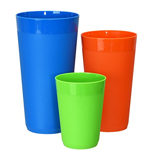 12pc Newport Unbreakable Plastic Cup Tumblers in 4 Tropical Colors, four 10oz juice, four 20oz water and four 32oz iced tea