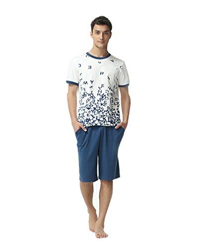 LvRao Liebhaber Weichen Baumwoll Pyjamas Sommer Kurze Nachtwäsche Runden Ausschnitt Schlafshirt Schlafanzüge Herren Weiß XL