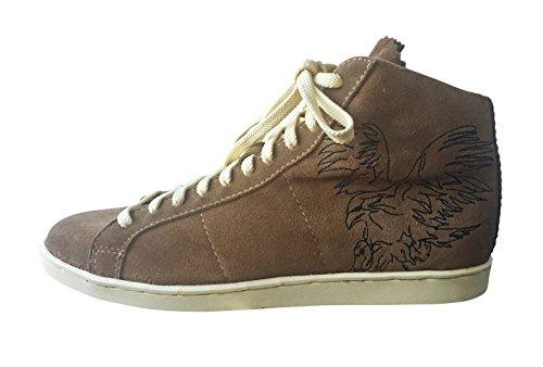 Trachten-Sneaker Trachtenschuhe trendiger Herrenschuhe Echt-Leder Wildleder wer keine Haferlschuhe liebt ist für Oktoberfest,Freizeit,Wandern hier gut ausgestattet.Braun mit Trachten Motiv