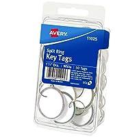 Etiquetas para llaves Avery 11025 con anillo partido, 1 1/4 de diámetro, blanco (paquete de 50)
