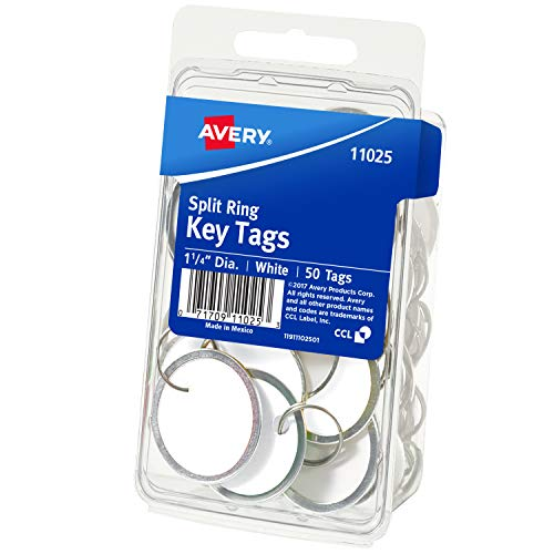 - Avery 11025 Key Tags with Split Ring, 1 1/4 dia, White (Pack of 50)