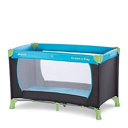 Hauck Kinderreisebett Dream N Play / inklusive Einlageboden und Tasche / 120 x 60cm / ab Geburt / tragbar und faltbar, Wasser (Blau) 1