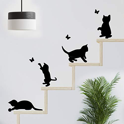 Divertidos gatos saltando pared pegatinas de salto sala de estar gato pegatina decoración papel pintado arte interruptor…