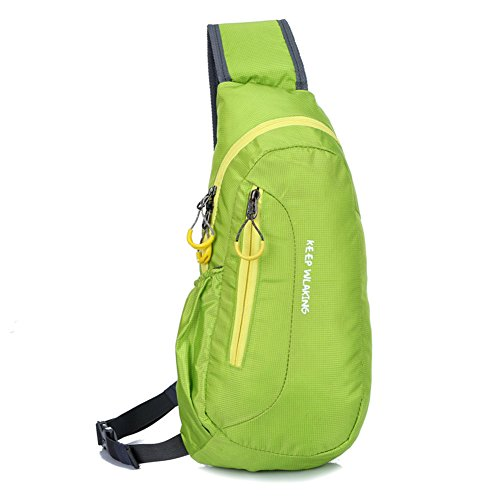 Sports Single Shoulder Chest Bag Sling Backpack Gym Camping Running Crossbody Bag for Men & Women By GuanYuanGuang-Green