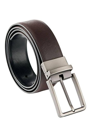Men's Leather Belts Reversible with Removable Buckle Black and Brown (Formal Reversible Belt)