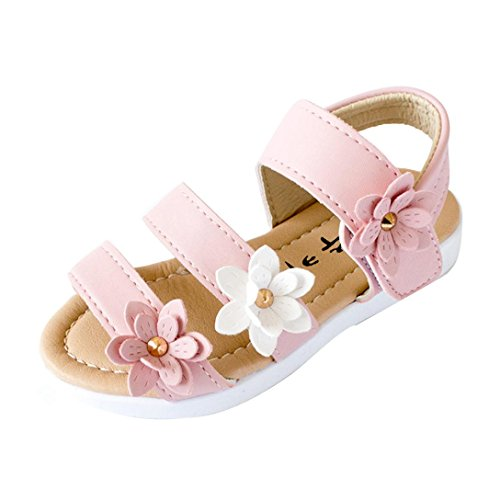 Girls Pink Flower Sandals - Axinke Toddler Littler Girls Summer Casual Open Toe Flat Princess Sandals Shoes with Flowers (Pink, 6 M Toddler)