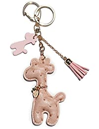 Leather Giraffe Keychain with Lucky Charms and Tassel