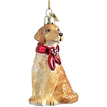 golden retriever with bow ornament