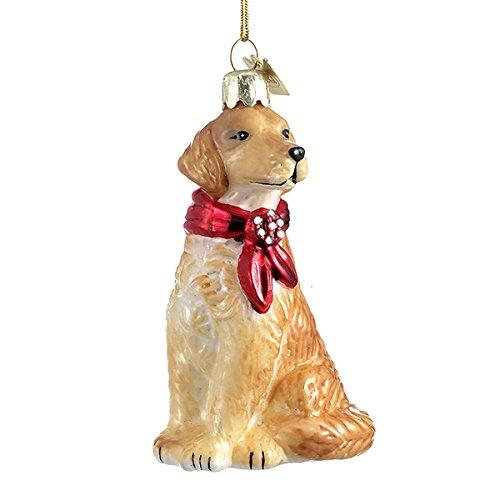 Retriever Glass Ornament - Golden Retriever with Bow Ornament