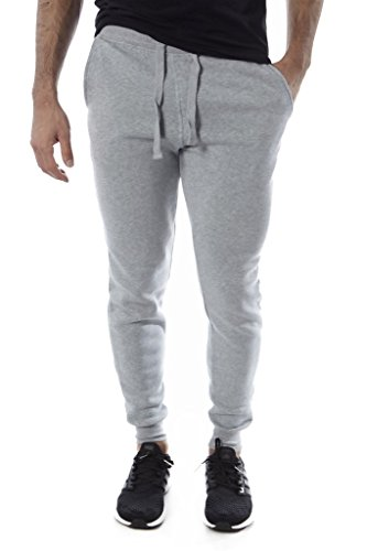 Vertical sport Men's fleece Jogger (Hearther Grey, Medium) (Thrill Athletic Fit Pant)