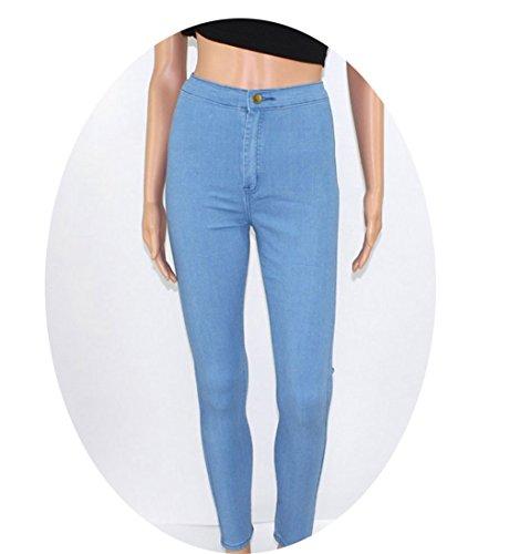 CARMELA HILL WILLIAMS High Waist Jeans Woman Blue Denim Pencil Pants Stretch Waist Women Jeans Black Pants Calca Feminina