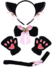 SATINIOR 5 Pieces Halloween Cat Cosplay Costume Set Faux Fur Cat Ears Headband Cat Paw Gloves Cat Tail and Bow Tie for Halloween Cat Cosplay Costume Accessories
